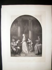 After Caspar Netscher C1840 LG Folio Print. Lady playing Harpsichord. Music